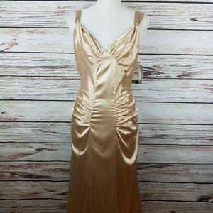 Jessica McClintock Sz 12 Gold Satin Gown Dress